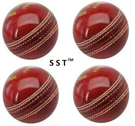 SST Leather Cricket Ball for Test/One-Day Matchs and Practice - Set of 4 (Red)