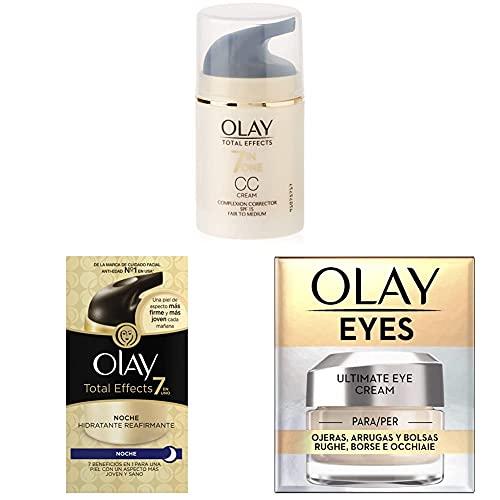Olay Total Effects 7en1 CC Cream Hidratante Claro a Medio + 7 en 1 crema de noche hidratante reafirmante + Cream para Ojeras, Arrugas y Bolsas