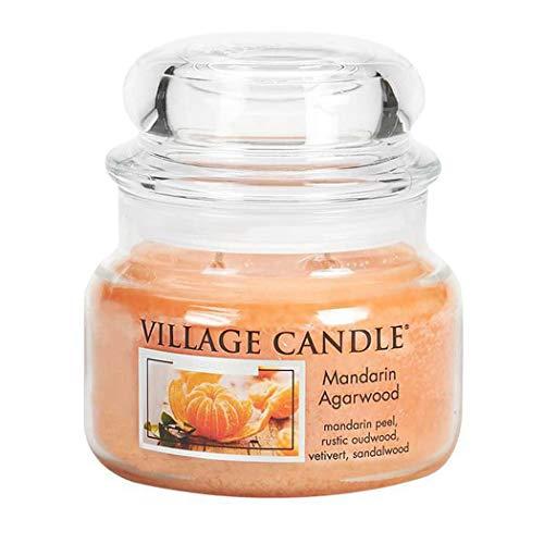 Village Candle Mandarine und Agarholz Duftkerze, 312 g, Glas, Orange, 10.1 x 9.8 x 9.3 cm