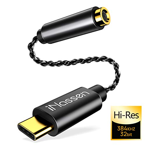 USB C AUX Kopfhörer Adapter, iNassen USB C auf Klinke 3,5mm Audio Headphone Adapter für Huawei P40 P30 P20 Pro/Mate10/20 Pro, Samsung S20/S20Ultra/Note10+/A80,Google Pixel 4XL,Oneplus7 - Schwarz Gold