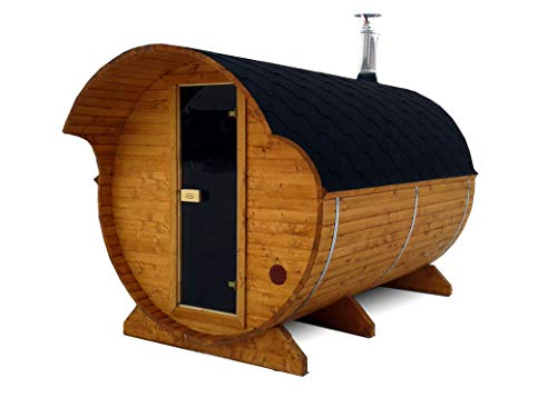 BZBCabins.com Barrel Sauna Kit W34, 6-8 Person Outdoor Sauna with Harvia M3