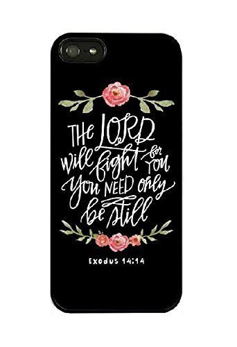 iPhone 7/8/SE (2020) Case,Flowers Roses Floral Girls Women Cute Motivational Inspirational Exodus 14:14 Lord Will Fight for You Bible Verse Scripture Quotes Black Rubber Case for iPhone 7/iPhone 8
