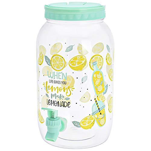 Murago - Getränkespender mit Zapfhahn ca. 3,7 Liter Mint Wasserspender Saftspender Kunststoff Zitronen Zitrusfrüchte Motiv hervorragend für Kinder Plastik