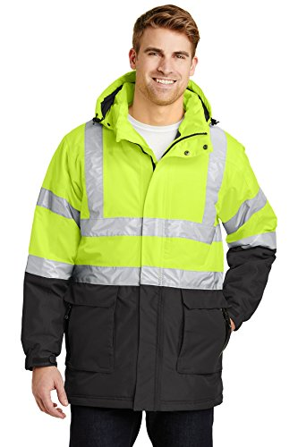 Port Authority ANSI 107 Class 3 Safety Heavyweight Parka. J799S Safety Yellow/ Black/Reflective XL