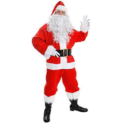 ILOVEFANCYDRESS Costume Deluxe da Babbo Natale Velluto di Babbo Natale Completo Natalizio in Peluche ST Nick in 10 Pezzi per Uomo (Grande)