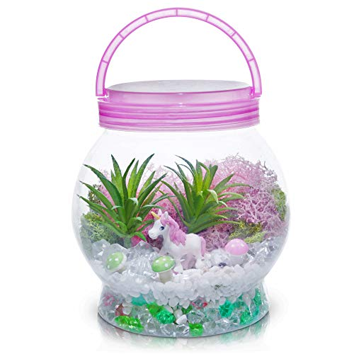 Amitié Lane DIY Light up Unicorn Terrarium Kit for Kids with LED Light - Create Your Own Magical Mini Plant Garden in a Jar - Unicorn Gifts for Girls - Crafts, Kits, Unicorn Stuff, Bedroom Decor