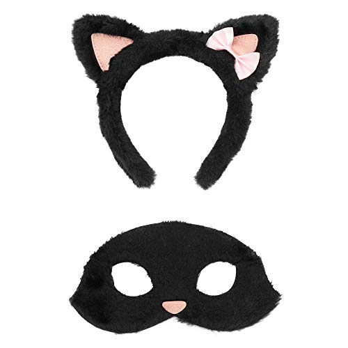 Claire's Club Cat Headband and Mask Costume Set for Girls, Includes Black Cat Ears Headband and Mask, 2 Pieces