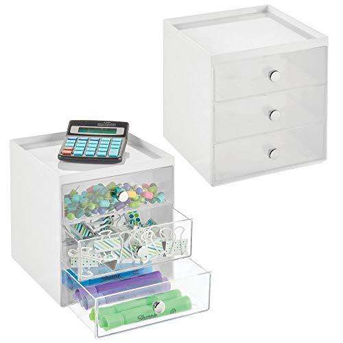 mDesign Organizador de Escritorio con 3 cajones – Cajonera pequeña para bolígrafos, Clips, Notas, etc. – Compacto gavetero de plástico para Mesa de Oficina – Juego de 2 – Blanco y Transparente