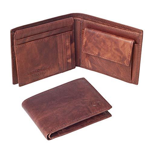 Linda Chiarelli portafoglio uomo vera pelle made in Italy blocco RFID grande portafogli con patella porta tessere carte di credito,portamonete doppio scompartimento banconote vintage PORT259BR T.MORO