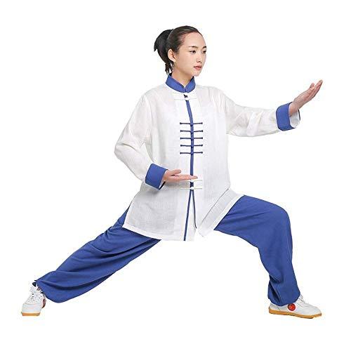 ANXWA Ropa De Taijiquan Práctica Tai Chi Ropa Uniforme Lino Manga Larga Tai Chi Taekwondo Traje De Yoga Wing Chun Zen Meditación Kung Fu Traje De Tai Chi,G-XS