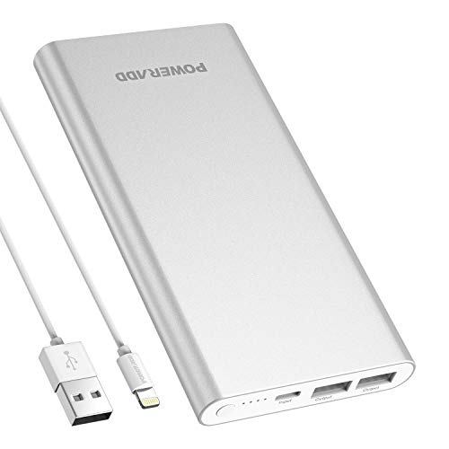POWERADD Pilot 4GS PowerBank 12000mAh-con 1 Ingresso Lightning e 2 Uscite USB (Con un Cavo per Apple),Adatto per IPhone, Huawei, Samsung e Altri Smartphone-Argento
