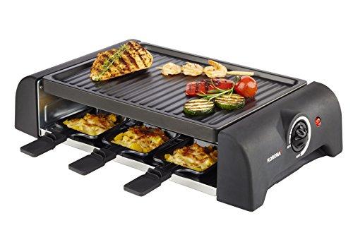 Korona 45065 Raclette Grill für 6 Personen I Tischgrill mit 6 Pfännchen und 6 Spatel I Abnehmbare Grillplatte, 18/10 Stahl, schwarz