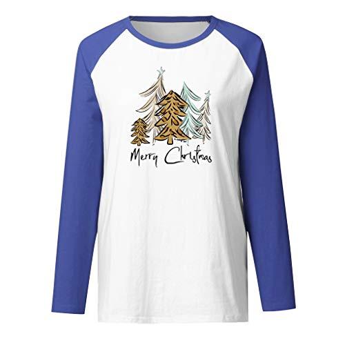Andouy Damen Weihnachten Raglan Langarm Patchwork Pullover Sweatshirts Drucken Tops Bluse(2XL.Blau)