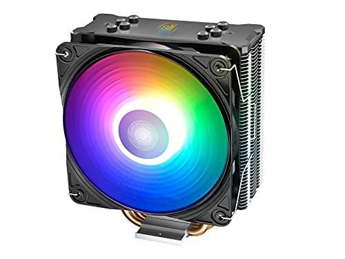 DeepCool Gammaxx GT ADD-RGB Disipador CPU 4 Heatpipes Ventilador PWM de 120mm Addressable 5V 3-Pin Compatible para CPU Intel 1155 1151 1150 1366 2011 2066 y AMD AM4 AM3+ AM3 AM2+ AM2 FM2+ FM2 FM1.