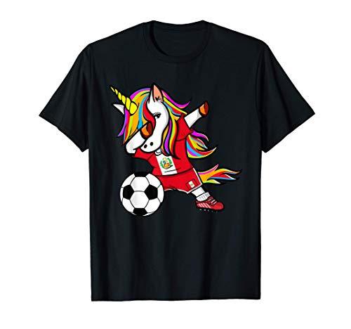 Unicorno Dabbing Unicorn Perù Calcio Bandiera Peruviana Maglietta