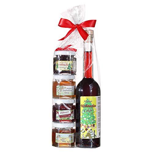 Geschenkset aus dem Allgäu | 200ml Weihnachtslikör aus ausgewählten Früchten | Marmeladen-Honig Weihnachts Geschenkset | Handgemachte Fruchtaufstriche | Garantiert Deutscher Honig (200ml+4x50g)