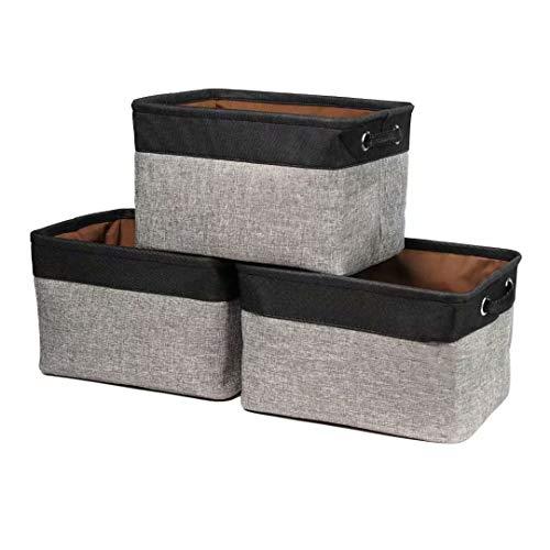 EDATOFLY 3 Pcs Cestas Organizador de Tela Plegable, Cestas de Almacenaje Canasta de Lino con Manijas para Hogar Oficina Estanterías Armarios Ropa Juguetes (Negro&Gris)