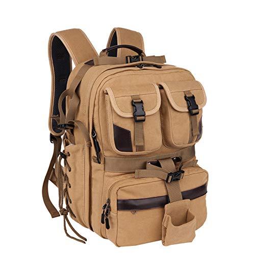 MKLI Professioneller Kamerarucksack, Fotopaket DSLR-Kameratasche Rucksack, mit Mehreren Fächern, wasserdicht, stoßfest, Rucksack für die Kamera,Khaki