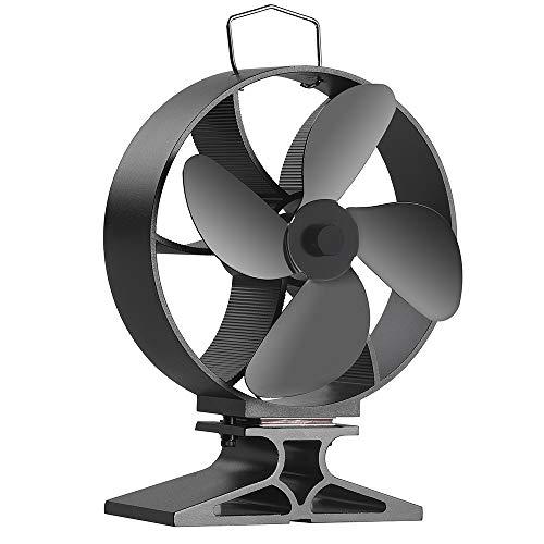Morinoli Upgraded 4 Blade Fireplace Fan Heat Powered Stove Fan for Wood/Log Burner/Fireplace ,Eco Friendly and Efficient Heat Distribution Fan,Black,Round