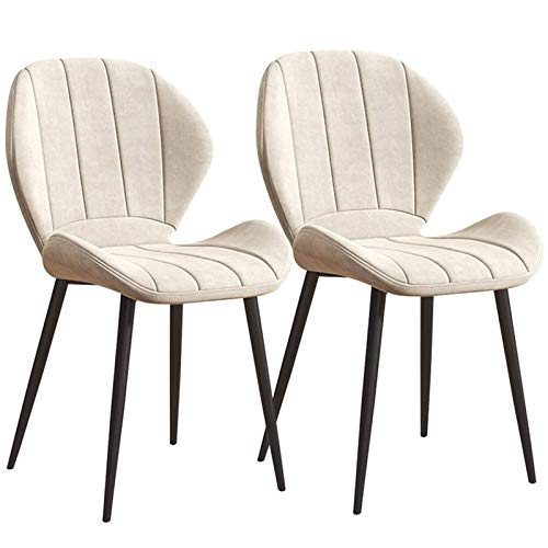 Dining Chairs 2pcs Office Chair Tulip Style Velvet Fabric Padded Seat Sturdy Black Steel Legs Comfy Backrest Kitchen Bedroom (Color : White)