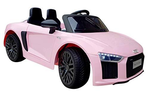 Audi R8 Spyder 12V - Rosa- Auto Macchina Elettrica 12V R8 Spyder per Bambini LED MP3 con Telecomando Sedile in Pelle Rossa