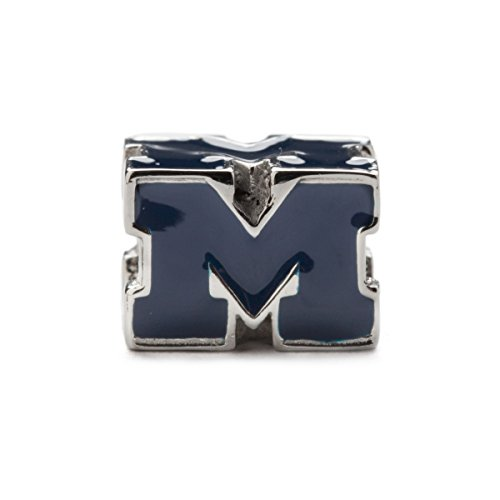 University of Michigan Charm | Blue UM Block M Bead Charm | Officially Licensed University of Michigan Jewelry | Michigan Wolverines | UM Gifts | Michigan Jewelry | Stainless Steel