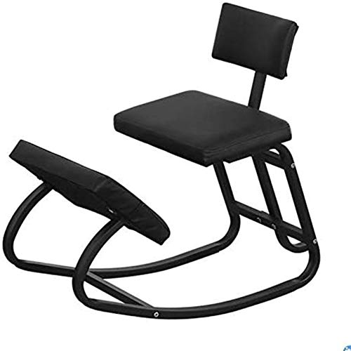 LNLJ Ergonomic Kneeling Chair, Rocking Knee Stool for Office & Home with Backrest, Posture Correcting for Bad Backs, Relieveing Stress,Black