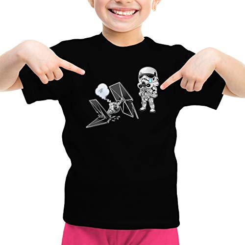 Star Wars kinder- en jongens-t-shirt met SD-oplading van Stormtrooper en de Suo Tie Fighter Mini Drone (Parodia Star Wars) (Ref: 1095)
