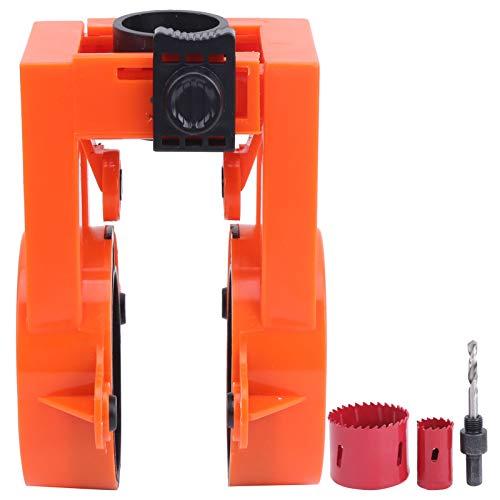 Les-Theresa Door Lock- Door Lock Installation Kit Orange for Wooden Metal Doors Bi‑Metal Hole Saws Fixer Set