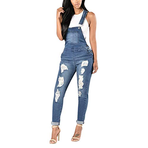 Xinvivion Mujeres Jeans Rasgado Overoles De Mezclilla - Mujer Monos Peto Slim Fit Stretch Denim Skinny Damas Pantalones Largos Jumpsuits