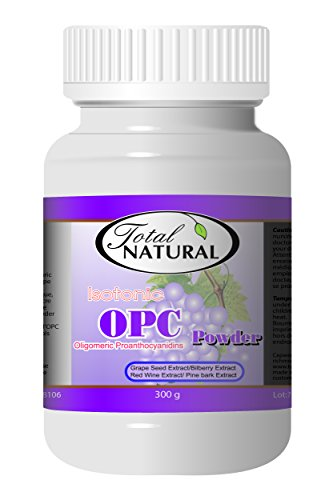 Isotonic OPC Powder 3 Month Supply Supplement, 300g [12 Bottles] by Total Natural, Maximum Strength Grapeseed, Antioxidants, Liver Care, GMP Premium Ingredients