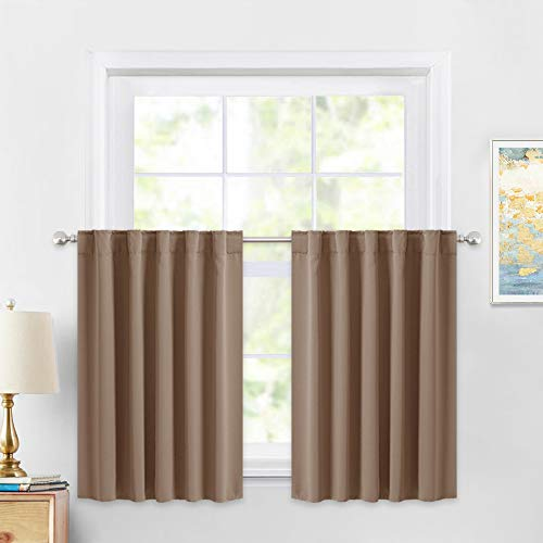 PONY DANCE Kitchen Curtains 36 inch - Tiers Valances Blackout Window Drapes Thermal Insulated Blinds Matching with Curtain Panels, 42 Width x 36 Length, Mocha, Set of 2
