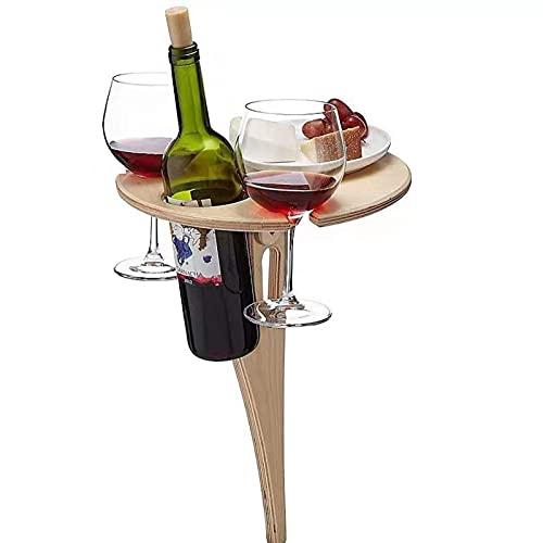 Xummy Mesa de vino al aire libre con soporte para botellas, mesa de playa portátil para arena y hierba, mesa de vino al aire libre, mesa de picnic plegable para exteriores, jardín, viajes