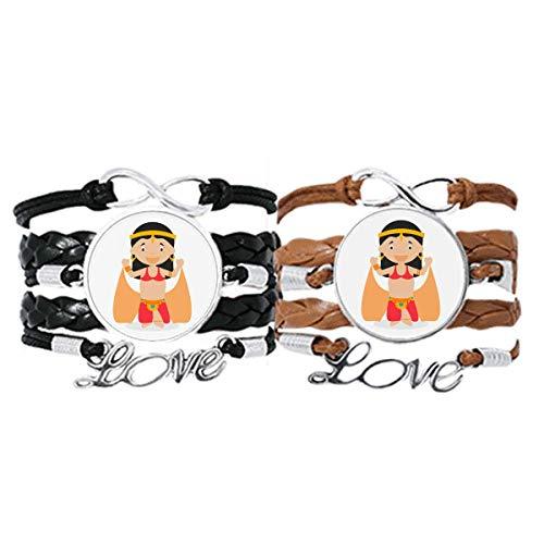 DIYthinker Traditionelle Orientalische Tänzerin Cartoon Armband Handschlaufe Leder Seil Armband Doppelset Geschenk