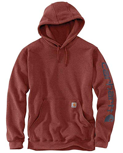 Carhartt Men's Midweight Sleeve Logo Hooded Sweatshirt (Regular and Big & Tall Sizes), Henna Heather, 4X-Large Tall