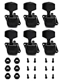 Metallor Semiclosed String Tuning Pegs Machine Heads Tuners 6 In Line Right Hand Electric Acoustic Guitar parts Replacement Set of 6Pcs Black.