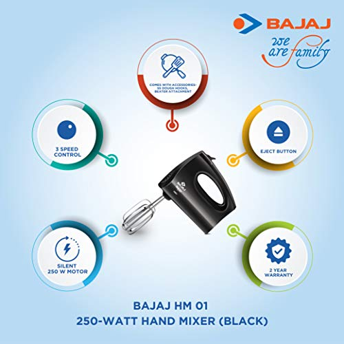 Bajaj HM-01 Powerful 250W Hand Mixer, Black