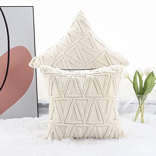 Madizz 2er Set Sanft Plüsch Kurze Wolle Samt Dekorativ Zierkissenbezüge Luxus Stil Kissenbezug für Sofa für Schlafzimmer Beige 65x65 cm Quadrat