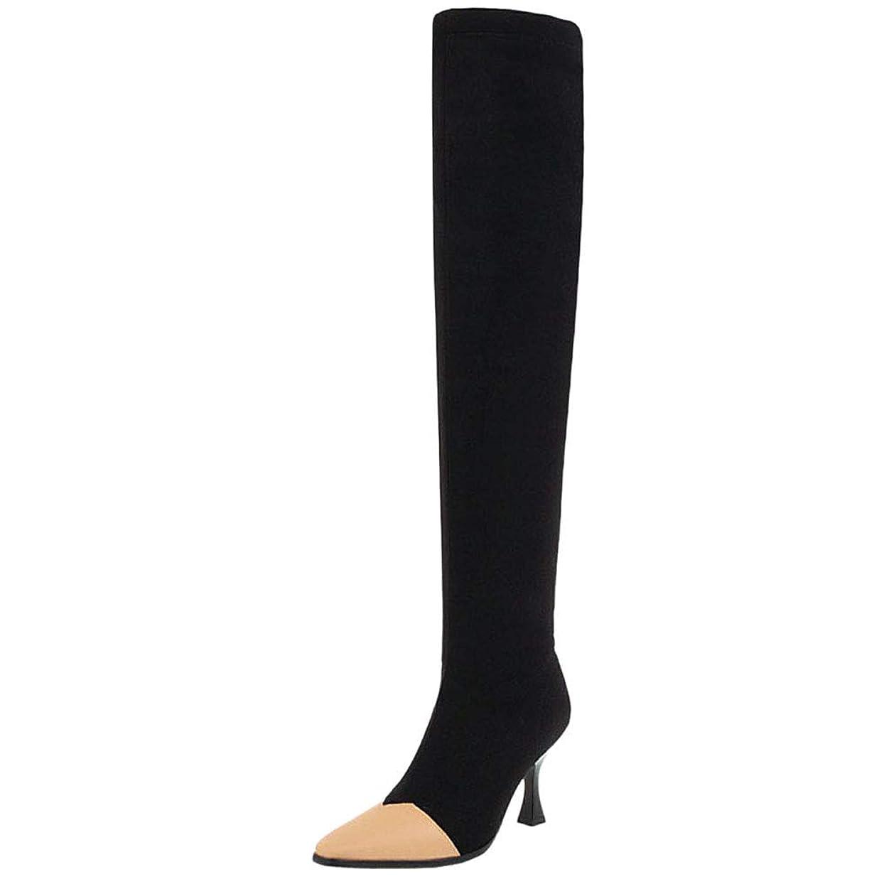 資料もう一度シーフード[FANIMILA] レディース ファッション ストレッチ ニーハイブーツ デザインヒール 脚痩せ