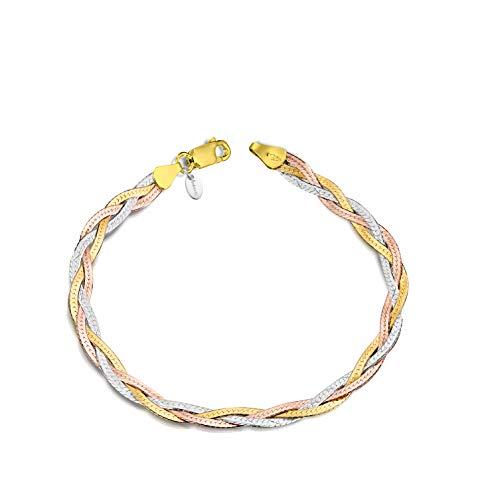 Amberta Pulsera para Mujer en Plata de Ley 925 Eslabon Herringbone 5 mm Longitud 19 cm: Multicolor