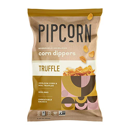 Pipcorn Heirloom Corn Dippers - Truffle (3 Pack of 9.25oz Bags) - No Artificial Anything, Vegan, Gluten Free, 3 Simple Ingredients - Non-GMO Heirloom Corn, Sunflower Oil, Sea Salt, and Truffle
