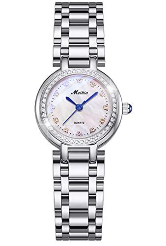 CHXISHOP Reloj de cuarzo de las mujeres redondo esfera pequeña Shell cara correa de acero inoxidable reloj de cuarzo de las mujeres, plata