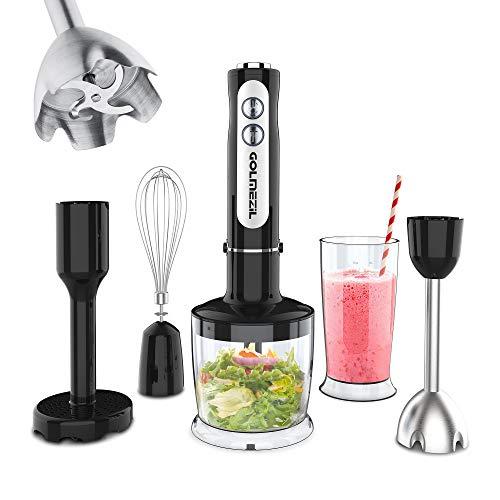 Stabmixer Set,5 in 1 Stabmixer,1000W Blender Mixer mit variabler Geschwindigkeitsregelung,Mixer mit 500 ml Chopper,Becher,Kartoffelstampfer,Schneebesen für Babynahrung Gemüsemühlen Suppen Smoothies