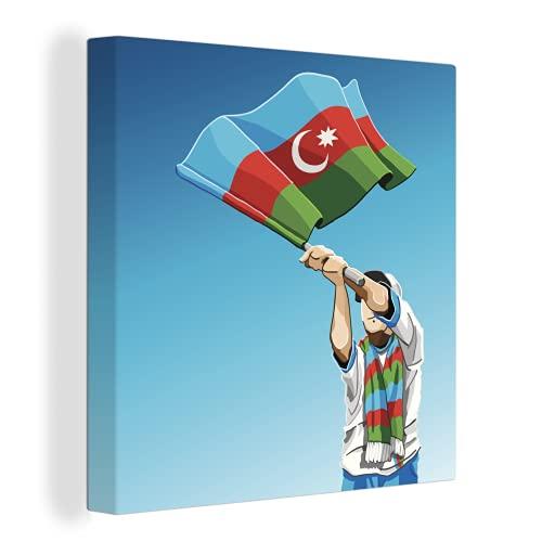 Leinwandbild - Eine Illustration eines Mannes, der die aserbaidschanische Flagge schwenkt - 90x90 cm