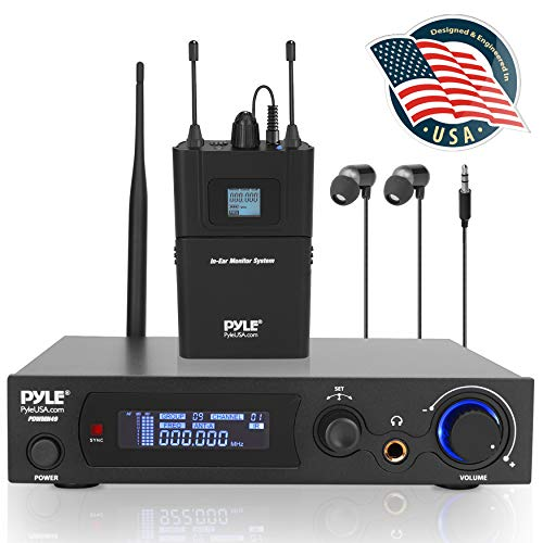 Pyle Audio in Ear Monitor and Receiver System, 100 Pre-Set Selectable Audio Frequency UHF Wireless Monitor System, 2 Combo XLR + 1/4-Inch Audio Input Jack. (PDWMN49)