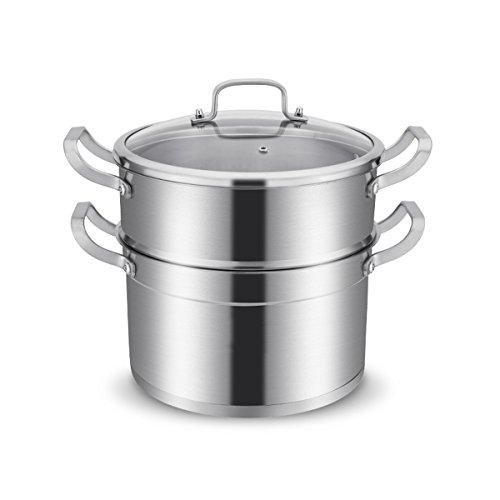 QXX Pot de ragoût de Pot de Soupe 304 en Acier Inoxydable Double-Deck Steamer avec épaisse Pot Usage à la Maison fête des mères Cadeau de fête des pères (Taille : 30cm)