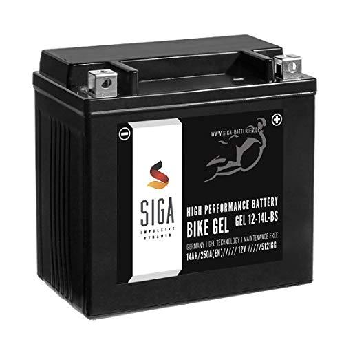 SIGA Gel Motorradbatterie 12V 14Ah 250A/EN Gel Batterie YTX14L-BS GEL12-14L-BS OEM 65958-04A HVT3 GTX14L-BS