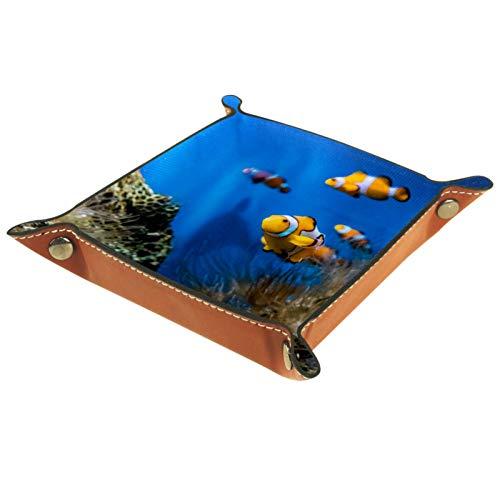 Caja de almacenamiento pequeña, bandeja de valet para hombre,Peces en acuario marino ,Organizador de cuero para llaves de caja de monedas