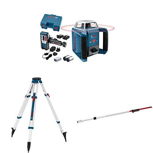 Bosch Professional Nivel láser giratorio GRL 400 H, uso con un solo botón, regla graduada GR 240, trípode BT 170, alcance diámetro hasta 400 m, en maletín