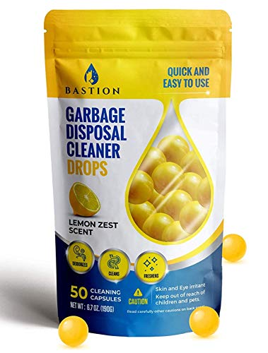 Garbage Disposal Cleaner and Deodorizer Drops- [[50-Count]] Lemon Zest Scented Kitchen Sink Freshener Pods & Drain Odor Eliminator Disposer Care Balls by Bastion